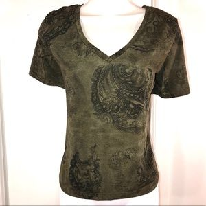 Pretty Olive Scroll V Neck Top, Size L